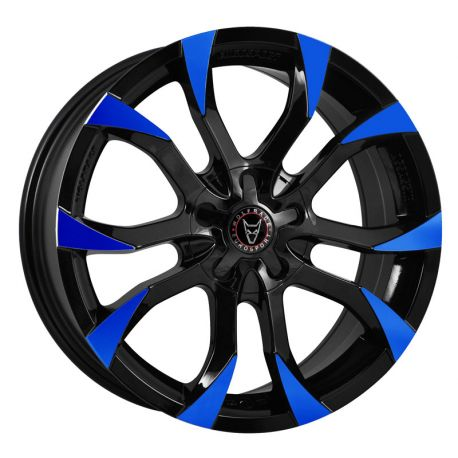 JANTE ALU WOLFRACE ASSASSIN 7X17 5X98 ET35 GLOSS BLACK BLUE TIPS