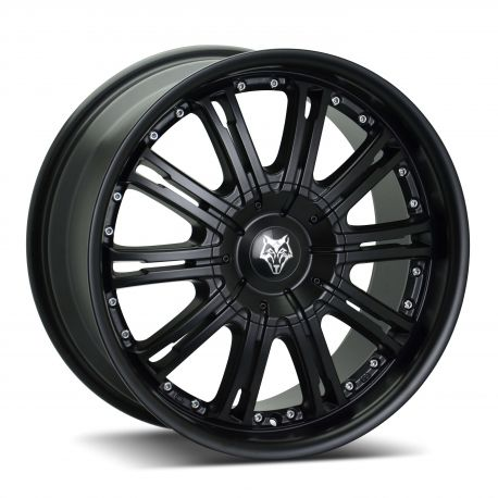 ALLOY WHEEL WOLFRACE VERMONT 5X118 9.5X22 ET20 MATT BLACK SILVER RIVETS 72.6