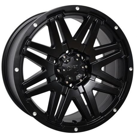 ALLOY WHEEL DIRT A.T D68 9X18 5X120/127 ET25 C.B74.1 FLATBLACK MILLED RIVETS