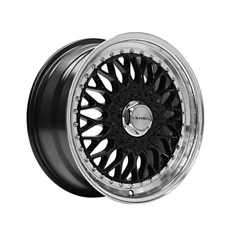 ALLOY WHEEL LENSO BSX 7.5X16 4X108 ET35 CB73.1 GLOSS BLACK / MIRROR LIP