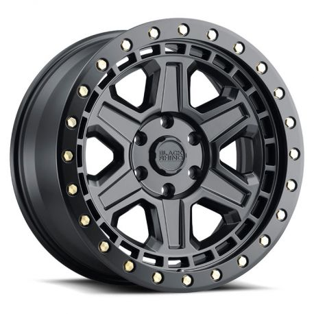 ALLOY WHEEL BLACK RHINO RENO 20x9.5 6/139.7 ET12 CB112.1 MATTE BLACK W/BRASS BOLTS